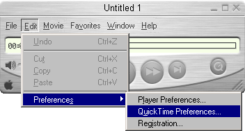 QuickTime player window